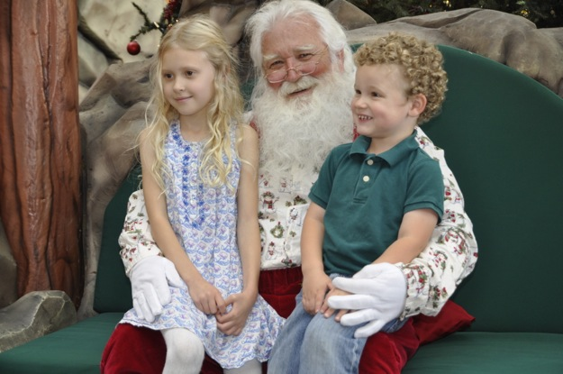 Grace and James with Santa