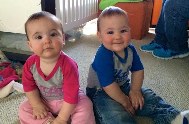 Twins in Bruin wear