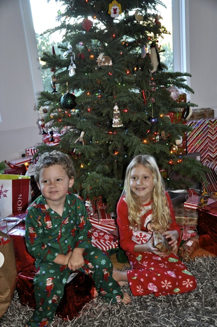 James and Grace in front of the Christmas tree1