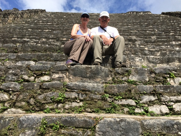 L and on on steps at Caracol