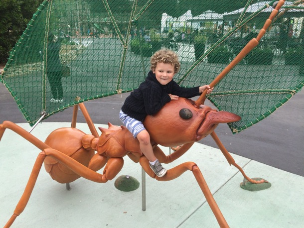 James on a giant bug