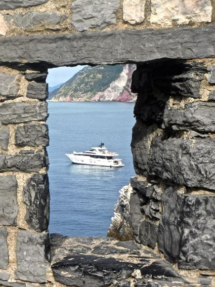 boat through stone window