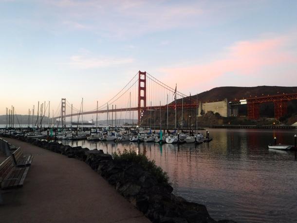 Golden Gate Bridge before sunrise
