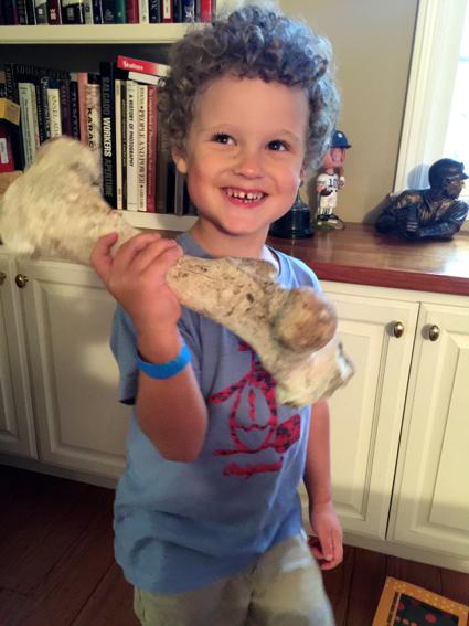 James with dinosaur bone