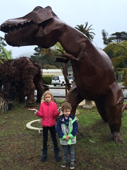 Grace and James at dinosaurs
