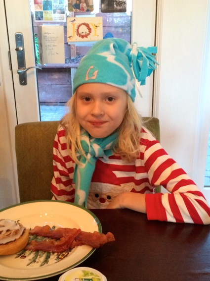 Grace modeling her hat and scarf