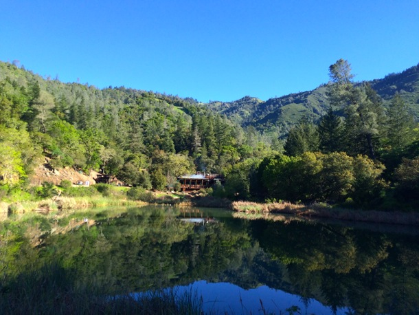View across lake at Calistoga Ranch