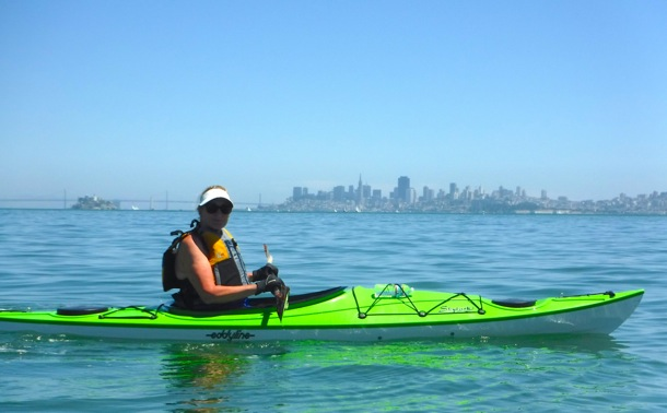 L kayaking in Richardson Bay near Sausalito