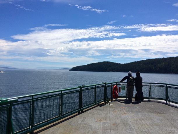 couple on ferry deck