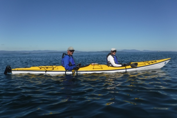 D and L kayaking Haro Strait