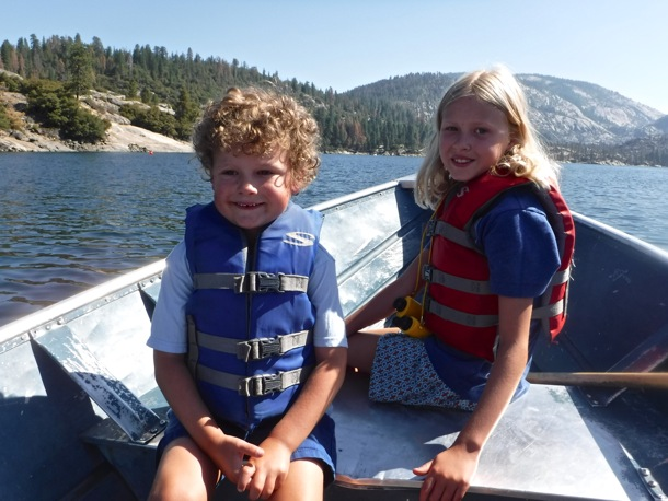 James and Grace in boat on Pinecrest Lake