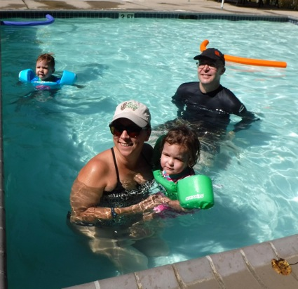 Nikki, Matt and the twins in pool