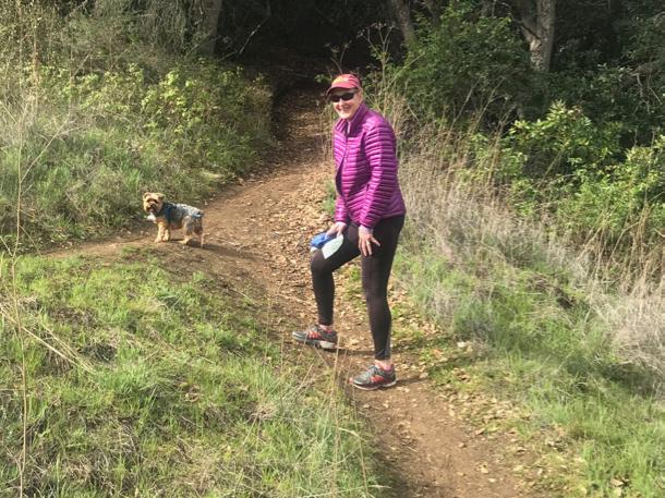 Mag and L hiking up Irish Hills - 1