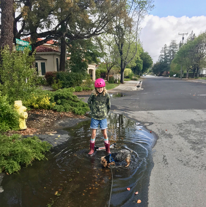 Grace and Mag enjoy puddles - 1