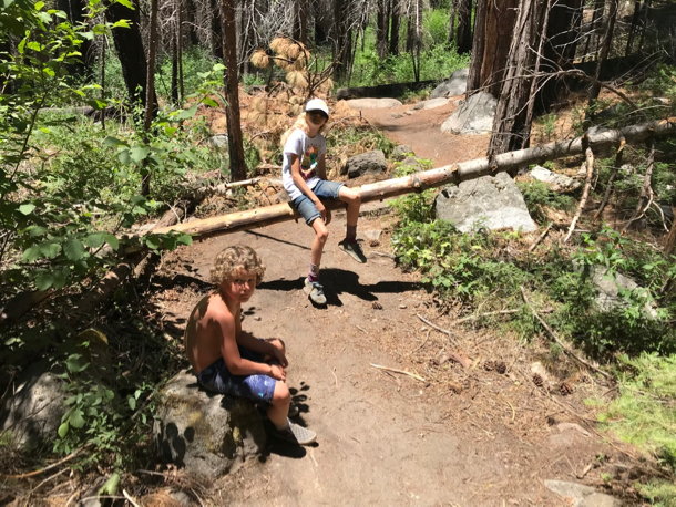 James and Grace near downed log - 1