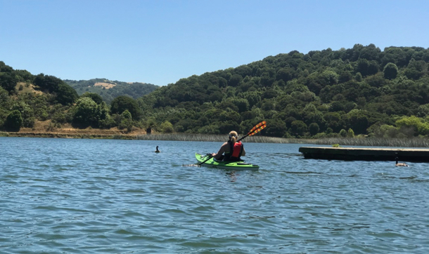 L paddling at Lake Chabot - 1
