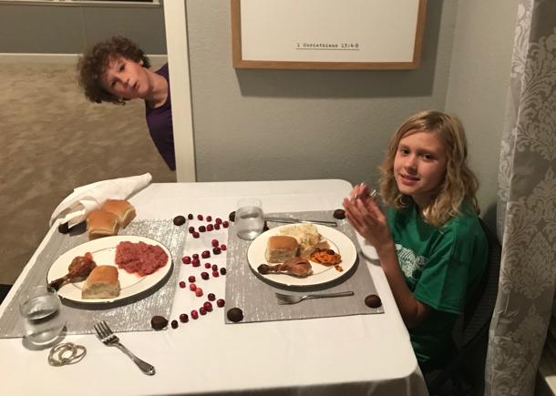 kiddos at Thanksgiving dinner - 1