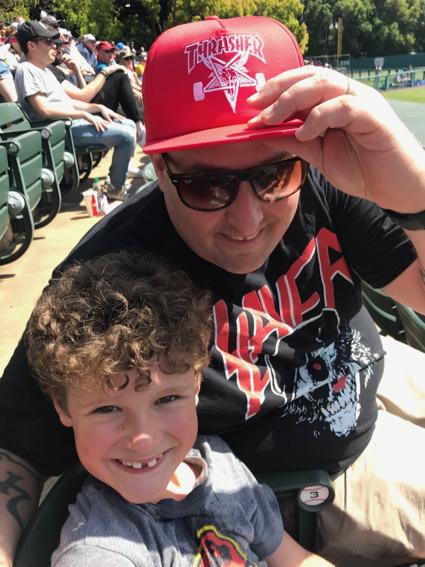 Beaz and James at Stanford baseball - 1